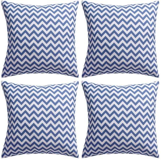 Buitenkussens met zigzag print 45x45 cm marineblauw 4 st