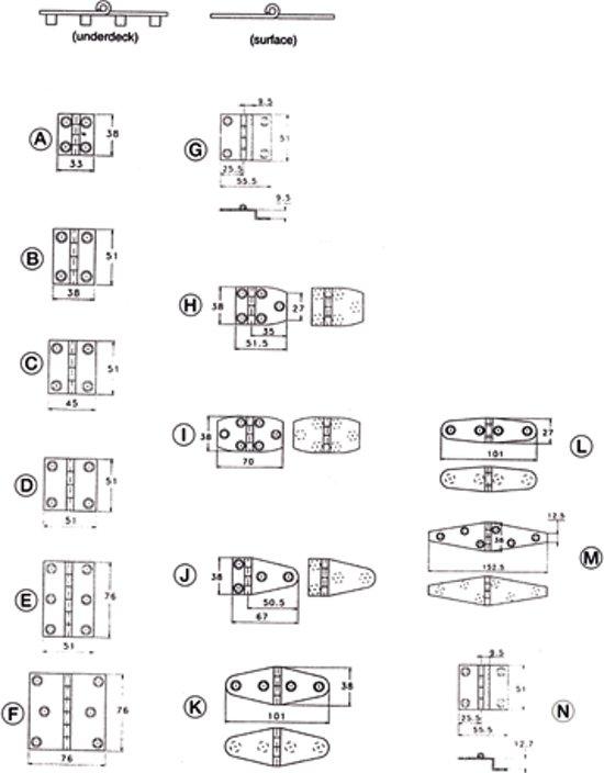 Talamex Handgepolijste scharnieren 76X51mm E