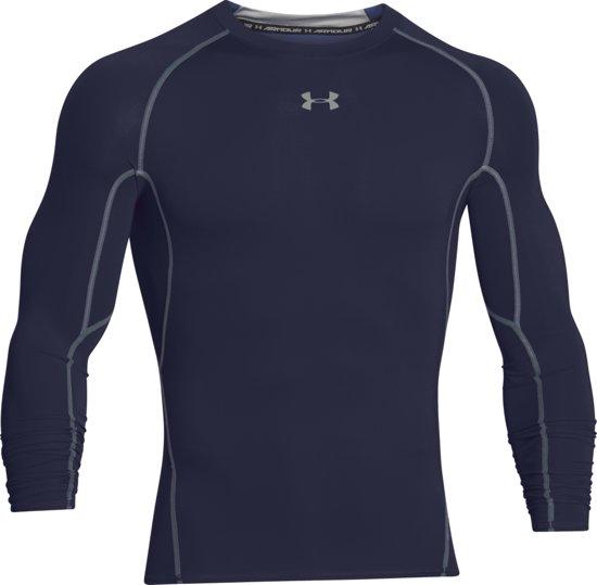 Under Armour HG Armour LS Heren Sportshirt - Midnight Navy - Maat S