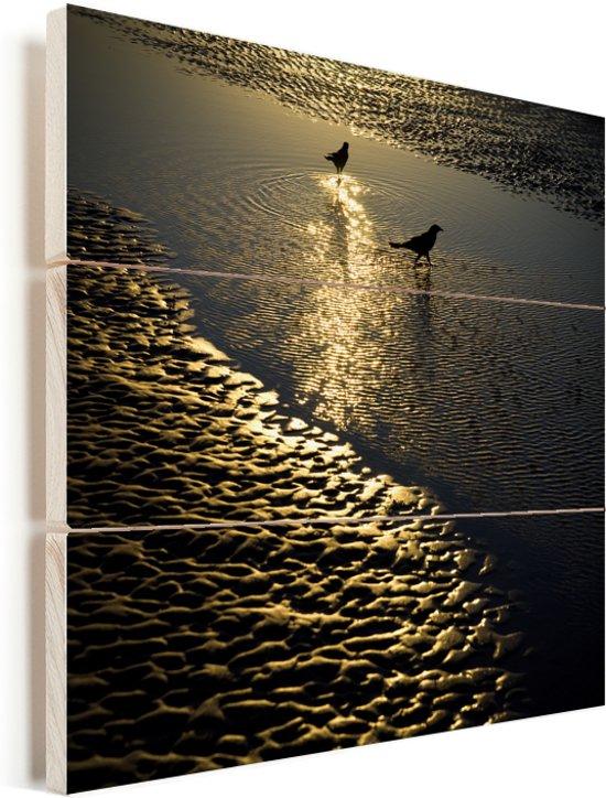 Twee bootstaarttroepialen tijdens een zonsopgang op zoek naar voedsel Vurenhout met planken 80x80 cm - Foto print op Hout (Wanddecoratie)