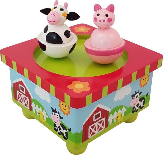 Afbeelding van Playwood - Houten muziekdoos dansende boerderijdieren speelgoed