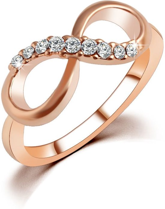 Fate Jewellery Ring FJ142 - 18mm - Infinity Ring - Roségoud met Zirkonia kristallen