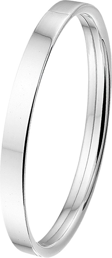 The Jewelry Collection Bangle Dop Vlakke Buis 6 X 60 mm - Zilver
