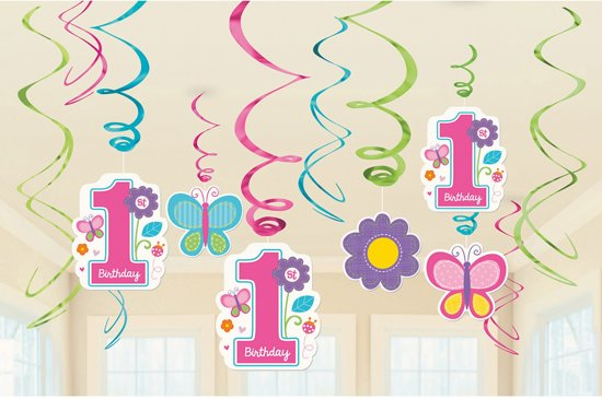 Bol Com 1 Jaar Meisje Versiering Eerste Verjaardag Vlinder