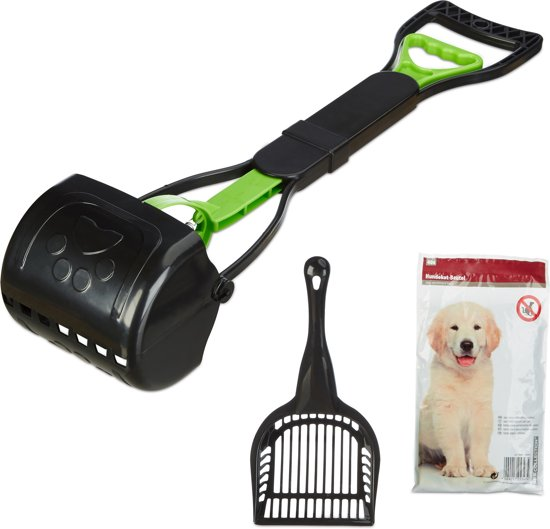 relaxdays poepschep hond - met 40 zakjes - hondenpoepschepje - hygiënisch   eenvoudig zwart