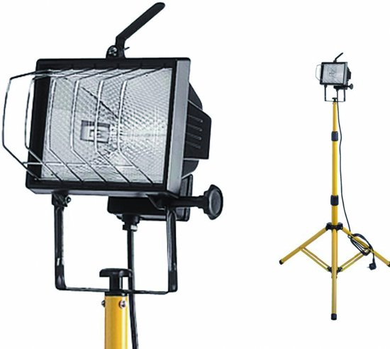 PROFILE werklamp halogeen op statief - 400W - geel/zwart