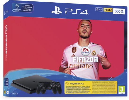 Afbeelding van PlayStation 4 Slim 500 GB FIFA 20 bundel - 2 controllers & 14 dagen PlayStation Plus