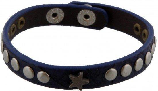 Blauwe Lederen Armband met Ster en Studs