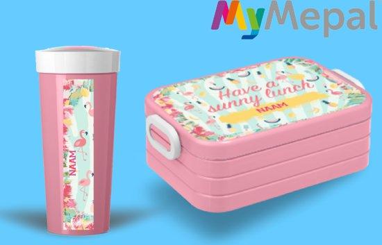 nieuwe foto's goedkoopste prijs populair merk bol.com | Mymepal Lunchset - broodtrommel + beker Flamingo
