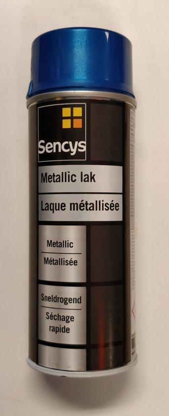 Sencys - Metallic Lak - Spuitbus - Metaalkleur - Metaal - Sneldrogend - Metallic Blauw