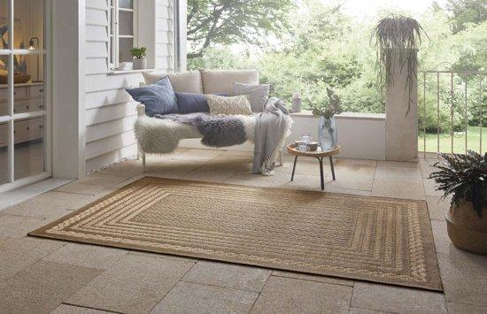 Binnen & buiten vloerkleed ruiten Limonero - beige/bruin 120x170 cm