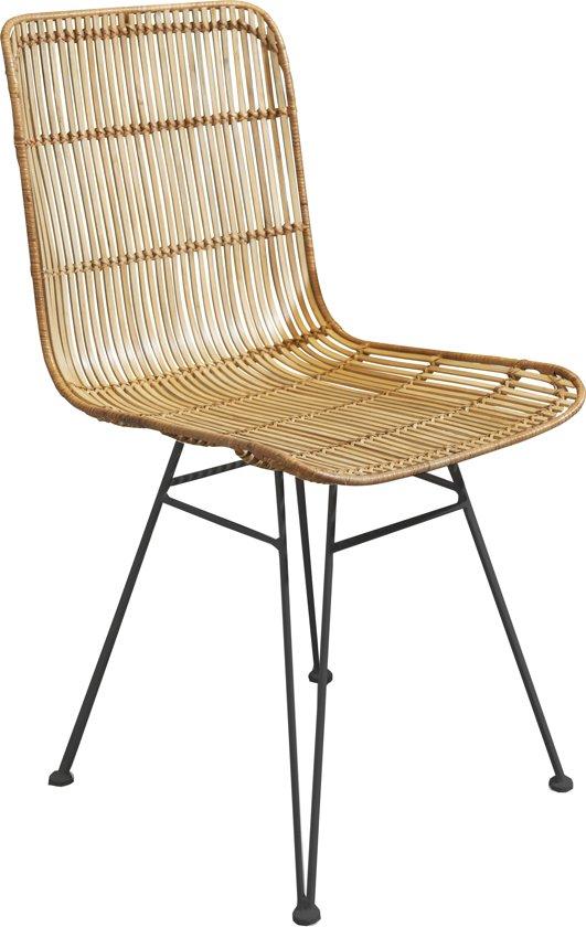 Pomax Nature - stoel - 56,5x46x83 cm - Rotan/metaal - naturel/zwart