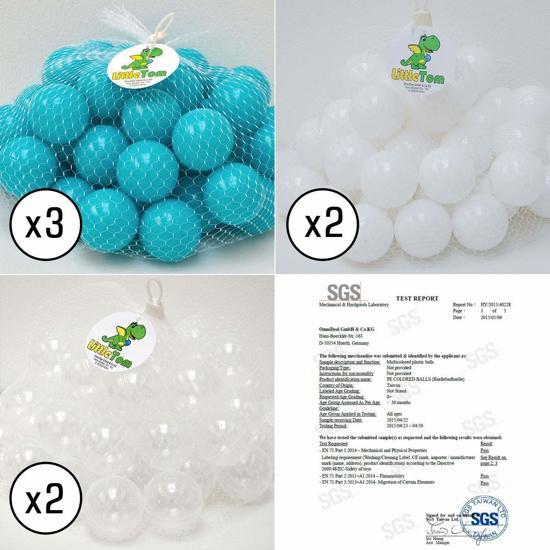 LittleTom Knuffelig Ballenbak met 350 Babyballen – Set vanaf 0 Jaar – 90 x 30 cm – Ballenbad in Lichtblauw – Ø 5,5 cm Ballen in Blauw, Wit & Transparant