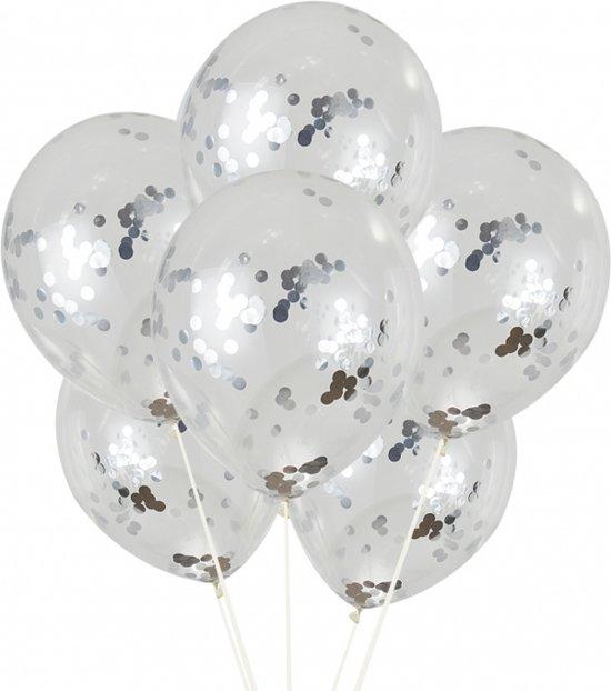10x confetti ballon zilver 30 cm | confettiballon | confettiballonnen | confetti ballonnen