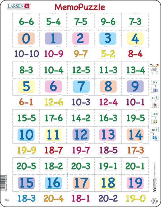 Puzzel Maxi Memopuzzel - Aftrekken met getallen van 0 - 20 - 40 stukjes