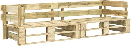 vidaXL Pallet tuinbankenset met grijze kussens 2-delig FSC grenenhout