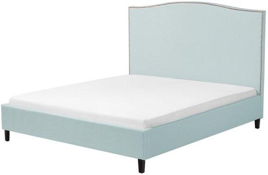 Beliani Montpellier Bed Blauw Stof
