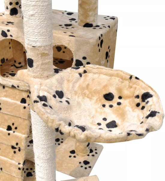 Krabpaal Tommie - 220/240 cm 3 huisjes - Geel met pootafdrukken