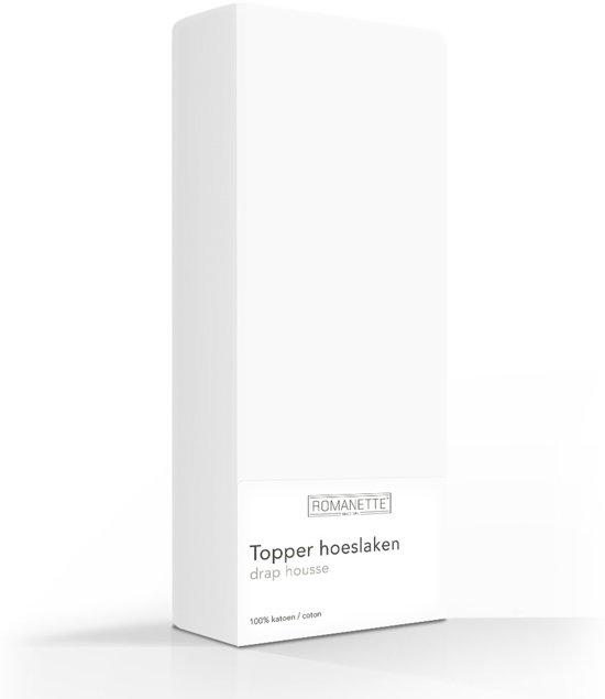 Romanette topper hoeslaken - Wit - Lits-jumeaux (180x220 cm)