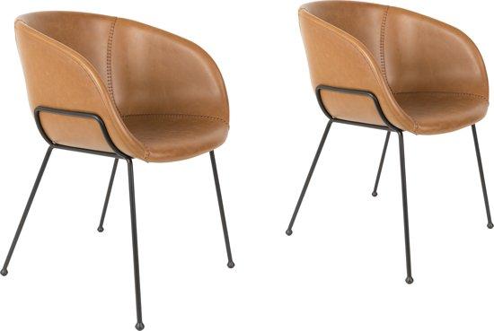 Zuiver feston eetkamerstoel bruin set van 2 for Zuiver stoelen