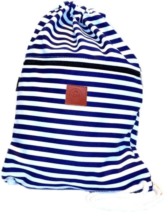 Rugtas Stripes Blue | T-Bags | 100% Katoen | 14 Liter | Blauw | Comfortabel