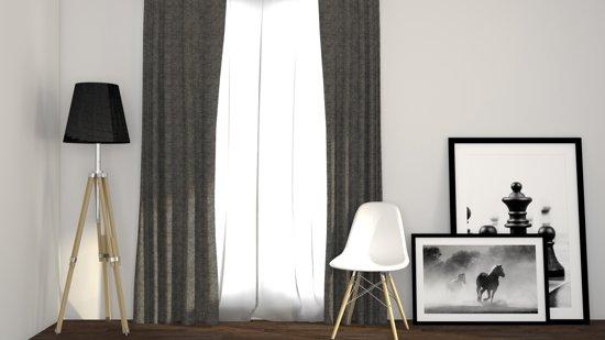 Larson - Luxe geweven blackout gordijn met ringen – grijs 3x2.5m – Verduisterend & kant en klaar – per stuk
