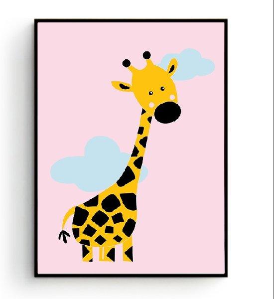 Roze Muurdecoratie Kinderkamer.Postercity Design Canvas Poster Giraffe Met Wolkjes Roze