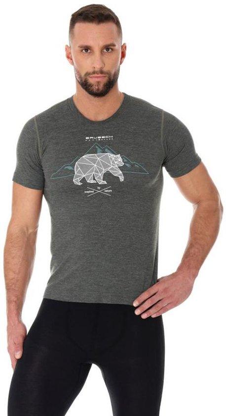 Brubeck   Outdoor Wool Heren T-Shirt met Merino Wol en Tencel® - Grafiet - Maat S