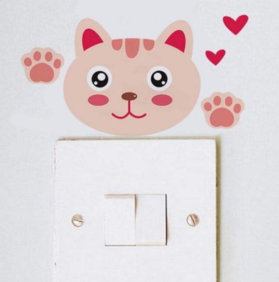 Stickers Voor Op De Muur Kinderkamer.Poes Kat Schattig Cute Baby Kinderkamer Wand Decoratie Lichtknop Muur Sticker Muursticker