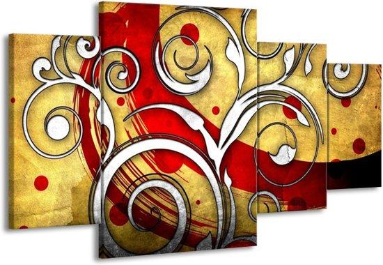 Canvas schilderij Art | Rood, Wit, Geel | 160x90cm 4Luik