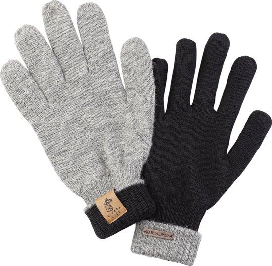 Wollen Handschoenen Grijs/Zwart omkeerbaar, 100% baby alpaca wol