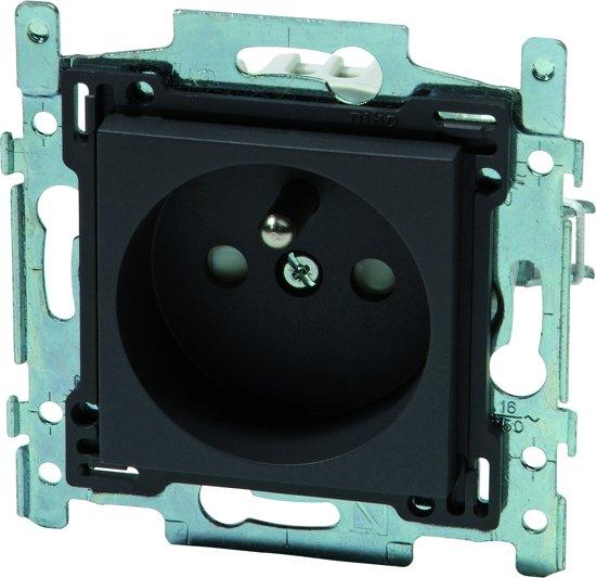 NIKO Intense Antracite inbouw stopcontact - penaarde - enkelvoudig