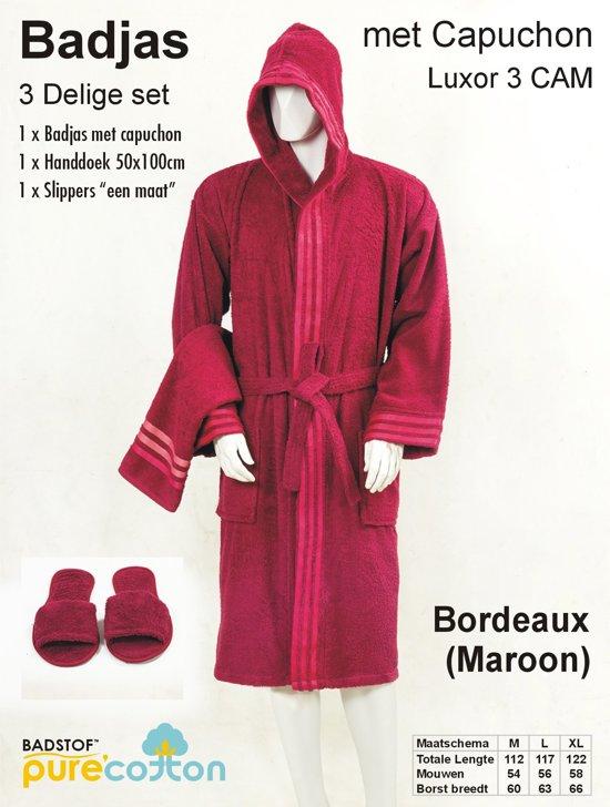 a9bf919dab7 bol.com | Badjas Luxor met capuchon 3-delige set Bordeaux (Maroon ...