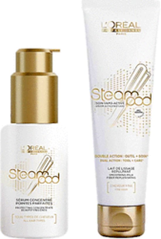L'oreal steampod set fijn haar 1 smoothing  milk+ 1protecting concentrate serum