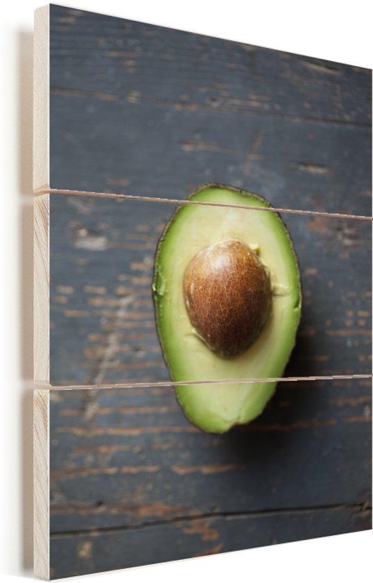 Sluit omhoog van avocado Vurenhout met planken 60x90 cm - Foto print op Hout (Wanddecoratie)
