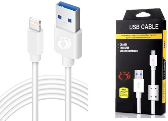 Olesit K102 Lightning USB Kabel 3 Meter Fast Charge 2.1A High Speed Laadsnoer Oplaadkabel - Magnetische Ring Data Sync & Transfer geschikt voor o.a  iPhone X /XS/ XS/ XS MAX / 8 / 8 Plus / SE / 6S / 6/ 7 (Plus) / iPad Pro 10.5 / 9.7 / iPad 2017/2018