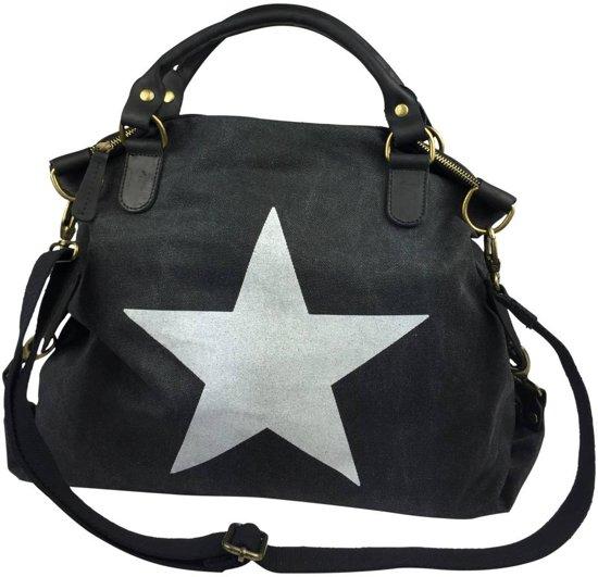 cf408bb89d6 Canvas tas schoudertas / schooltas met ster en leren accenten grijs en een  zeer stevige schouderriem