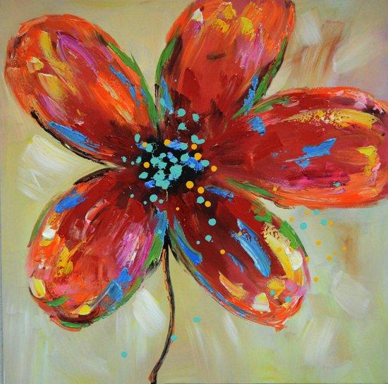 Schilderij gekleurde bloem 80x80 Artello - Handgeschilderd - Woonkamer schilderij - Slaapkamer schilderij - Canvas - Modern