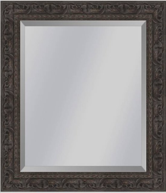 Brocante spiegel met ornament Sevilla Bruin eiken small 49mm     Buitenmaat 60x71cm
