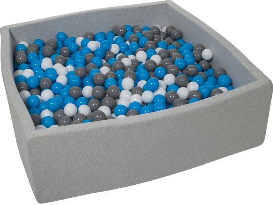 Zachte Jersey baby kinderen Ballenbak met 1200 ballen, 120x120 cm - wit, blauw, grijs