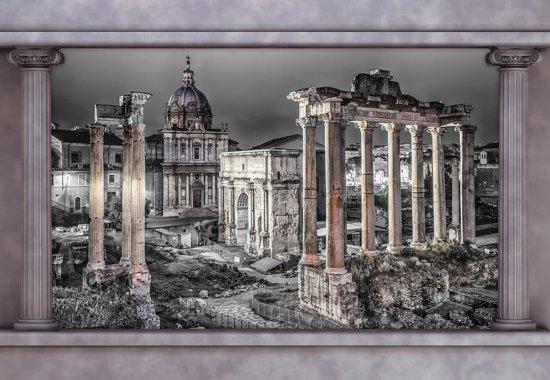 Fotobehang Rome City Ruins Window View | L - 152.5cm x 104cm | 130g/m2 Vlies