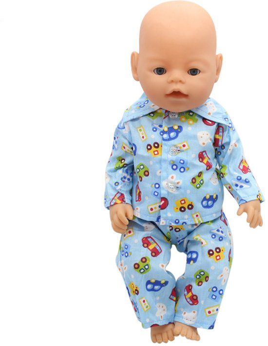 d30a04cc526b08 Jongens pyjama met autootjes en dieren voor baby born pop - poppenkleertjes  nachtkleding