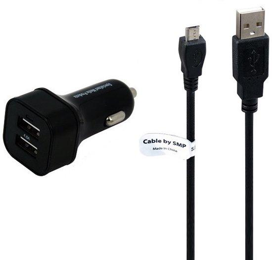 4.8A. autolader Dualpoort met USB kabel 2 Mtr Motorola  MotoGo EX430 - Motorola  EX119 - Motorola  Moto E2 -  Adapter stekker  oplaadkabel laadsnoer. laadkabel  oplaadsnoer. in Trijehuzen