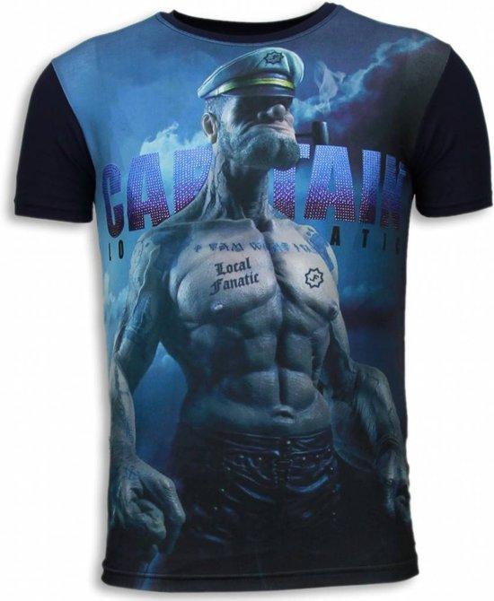 Local Fanatic Captain Sailor Man - Digital Rhinestone T-shirt - Navy - Maten: XXL