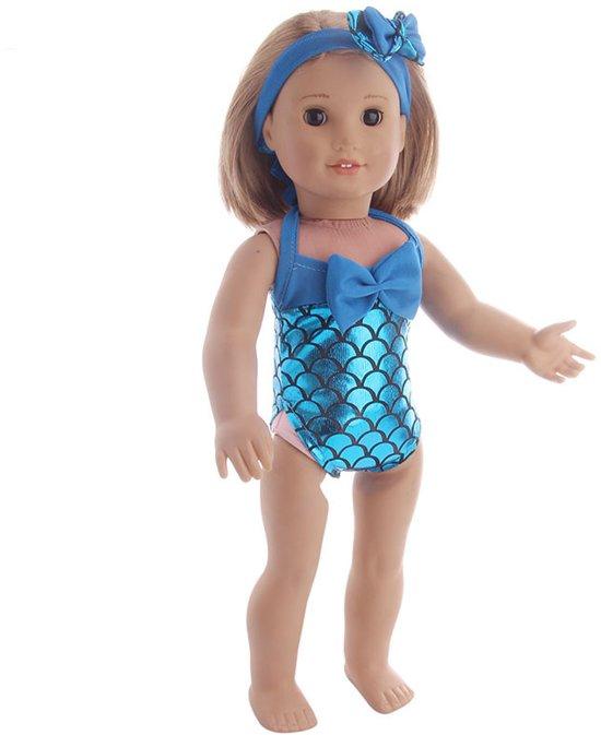 Blauw Zeemeermin badpak voor poppen met een lengte van 40-45 cm zoals Baby Born pop.