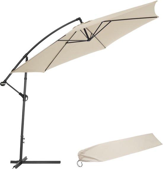 Aluminium zweefparasol 350 cm beige uv for Recambio tela parasol 3x3