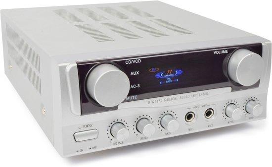Skytronic stereo versterker 2x 50W met 2 microfooningangen met echo voor o.a. karaoke