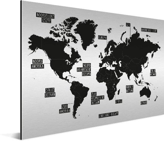 Zwart wit wereldkaart op aluminium Schilderij 120x80 cm | Wereldkaart Wanddecoratie Aluminium