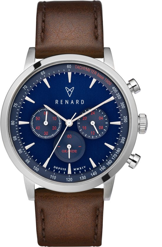 RENARD Grande Chrono Silver Blue Veau Brown RC402SS41VBR - Horloge - Leer - Bruin - 40 mm