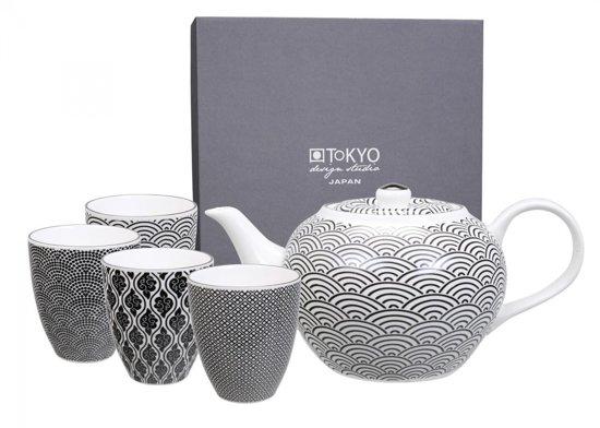 Bolcom Tokyo Design Studio Nippon Black Tea Set Wave Theepotset